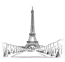 Paris city landscape. Famous landmark Eiffel tower. Travel France. vector