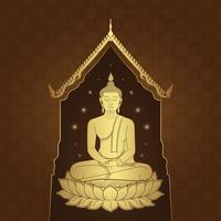 Thaise kunst de tempel van Boedha en achtergrondpatroon vectorillustratie