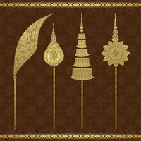 Thai art luxury temple and background pattern vector illustration