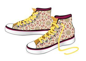 Sneakers isolated. Patterned fabric fashion sport shoes vector