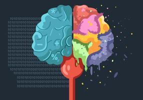Hemisfério do cérebro humano em fundo escuro