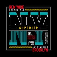 T-shirt graphique New York Brooklyn Typography Design,