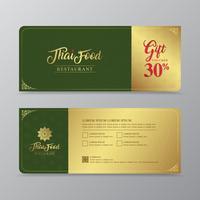 Luxusgeschenkgutschein des thailändischen Lebensmittels und des thailändischen Restaurants entwerfen Schablone für Druck-, Flieger-, Plakat-, Netz-, Fahnen-, Broschüren- und Kartenvektorillustration