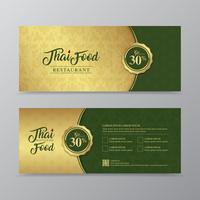 Thais voedsel en Thais de giftmalplaatje van de restaurantgift van de restaurantluxe voor druk, vliegers, affiche, Web, banner, brochure en kaart vectorillustratie