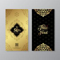 Thai food and thai restaurant luxury gift voucher design template for printing, flyers, poster, web, banner, brochure and card vector illustration