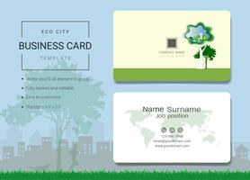 Eco city business name card design template.