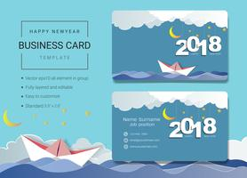 2018 happy new year business name card design template.