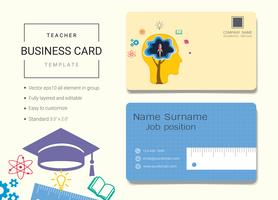 Teacher business name card design template.