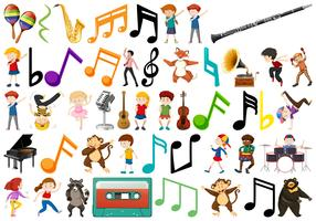 Group of children and music note