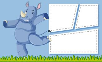 A rhinoceros on note template