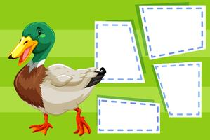 A duck on blank note vector