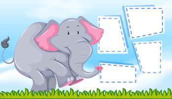 Elephant on blank note