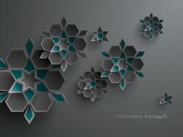 Paper graphic of islamic geometric art vector