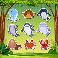 Sea creature sticker character