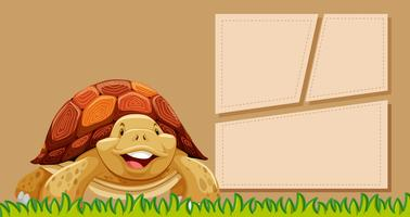 A turtle on blank note vector