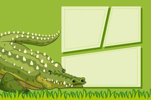 A crocodile on note template