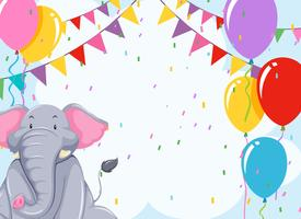 Elepehant on birthday template vector