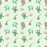 Cute cat astronaut seamless pattern