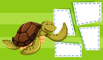 A sea turtle on balnk note