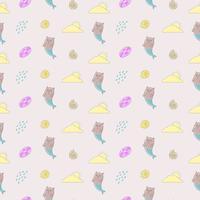 Söt katt, sjöjungfrun, sommar, sömlöst mönster