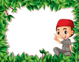 A muslim boy scout on nature frame