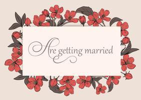Plantilla floral de la tarjeta de la invitación de la boda con el texto.