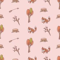 Cute fox seamless pattern drawing vector