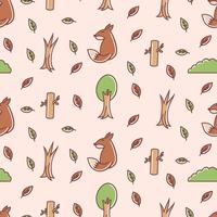 Cute fox seamless pattern vector