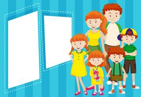Family with blue frame vector
