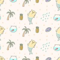 Cute mermaid, cat summer seamless pattern