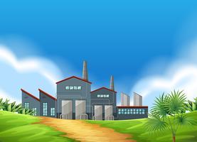 En fabriksplats i naturen