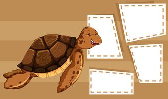 A sea turtle on blank template