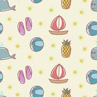 Cute summer cartoon seamless pattern