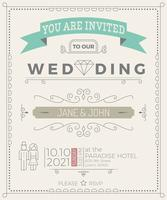 Plantilla de tarjeta de invitación de boda de la vendimia