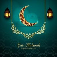 Abstract Eid Mubarak religious background vector