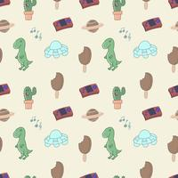90's cartoon seamless pattern vector