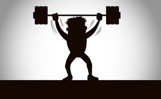 A silhouette of weight lifting