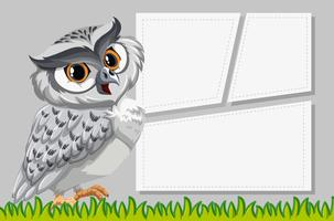 Owl on note template