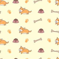 Cute welsh corgi dogs seamless pattern vector