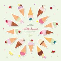 Ice cream cones festive summer background with place for text. Paper cut out stickers.
