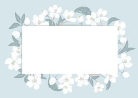 Cherry blossom card template with text. Floral frame on pastel blue background. White flowers. Vector illustration