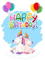 Unicorn on birthday template