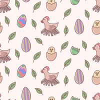 Easter egg cartoon seamless pattern