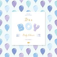 It s a boy. Baby shower template. Included seamless pattern with blue and violet balloons.
