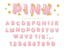 Pink glossy font. ABC letters and numbers for girls. Gold glitter confetti.