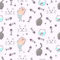 Fantasy cat seamless pattern