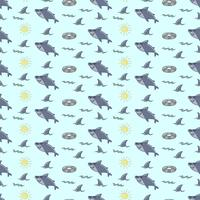 Funny shark seamless pattern