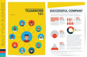 Teamwork concept book cover template