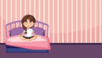 Una meditazione ragazza in camera da letto