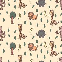Giraffe, lion, elephant and monkey seamless pattern